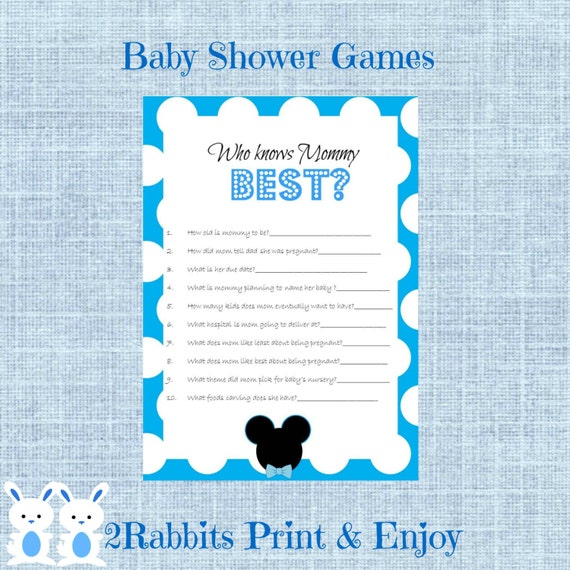 mickey mouse baby shower game who knows mommy best disney baby shower
