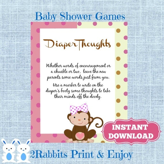 Monkey Girl Diaper Thoughts Baby Shower Sign Write On