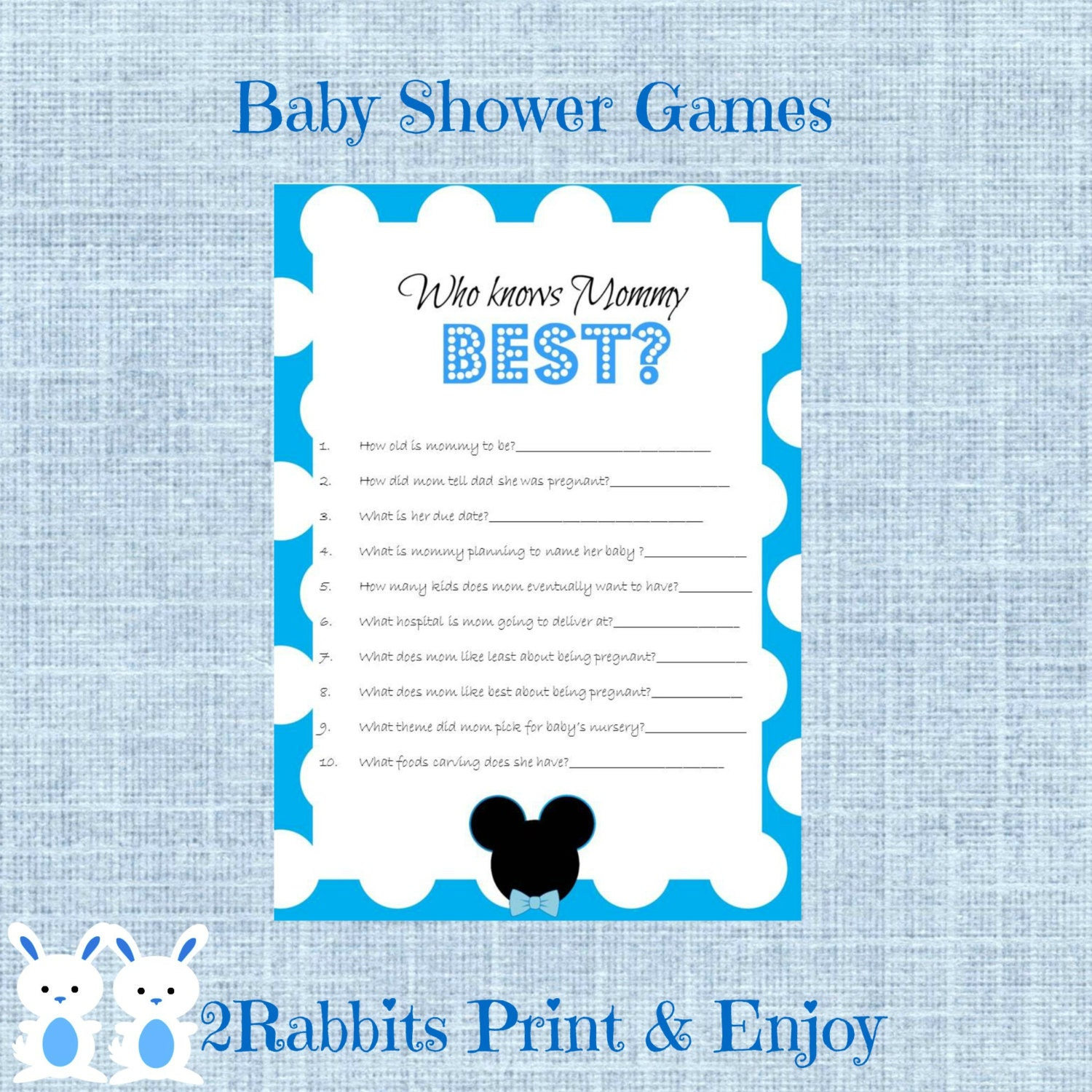 mickey mouse baby shower game who knows mommy best disney
