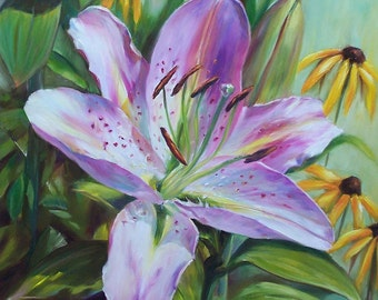 Original Oil Painting Peppermint Lily