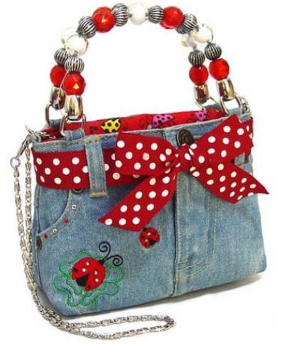 Girls Ladybug Denim Purse