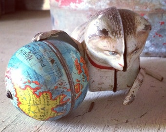 Vintage 1940s US Zone Germany Tin Windup Toy Cat with World Globe