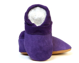 Baby Girl Boy Toddler Leather Slipper Shoes Soft-Sole purple Size 3 - 7