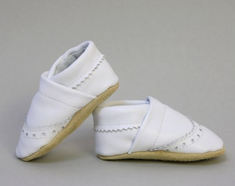 Baby Boy Brogue Leather Slipper Shoes Soft-Sole infant gift white Size 3 - 7