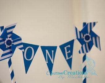 Blue and White Stripe Pinwheel Cake Banner Topper/Photo Prop