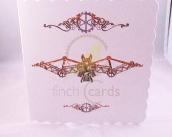 Steampunk Bat Blank Card, Bat Card, Steampunk Card, UK
