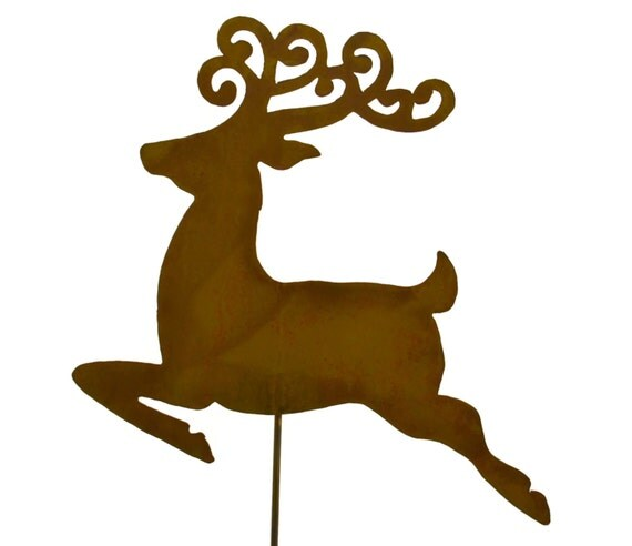 Reindeer christmas metal yard stake and garden