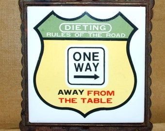 Dieting Rules of the Road Trivet - Ceramic and Cast Iron. Wall hanging.