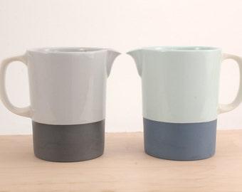 slip-cast porcelain pitcher