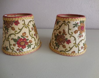 A pair of vintage tapesty lampshades #1