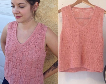 Dusty rose handmade vintage vest crop top pull over 1970's