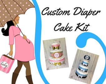 Custom Baby Diaper Cake Kit, 3-tier Diaper Cake Centerpiece Kit