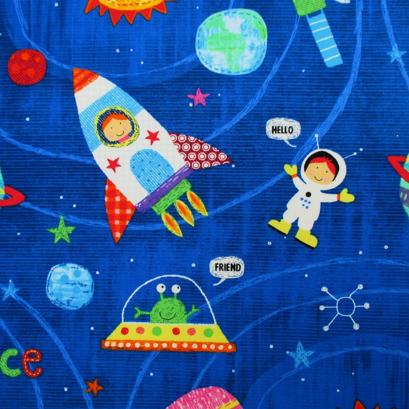 Fabric my space friend space kids rockets planets on for Space fabric
