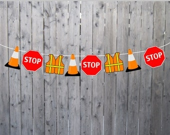 Construction Party Banner, Construction Party Garland, Construction Garland, Construction Banner, Construction Cone Banner (72617302P)