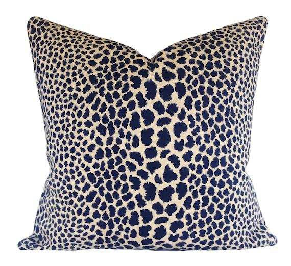 Indigo Leopard Cheetah Throw Pillow Cover by PillowTimeGirls