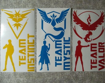 Custom Pokemon Go Team Decal pack Fan art Instinct Mystic Valor Spark Blanche Candela die cut stickers your choice Zapdos Articuno Moltres