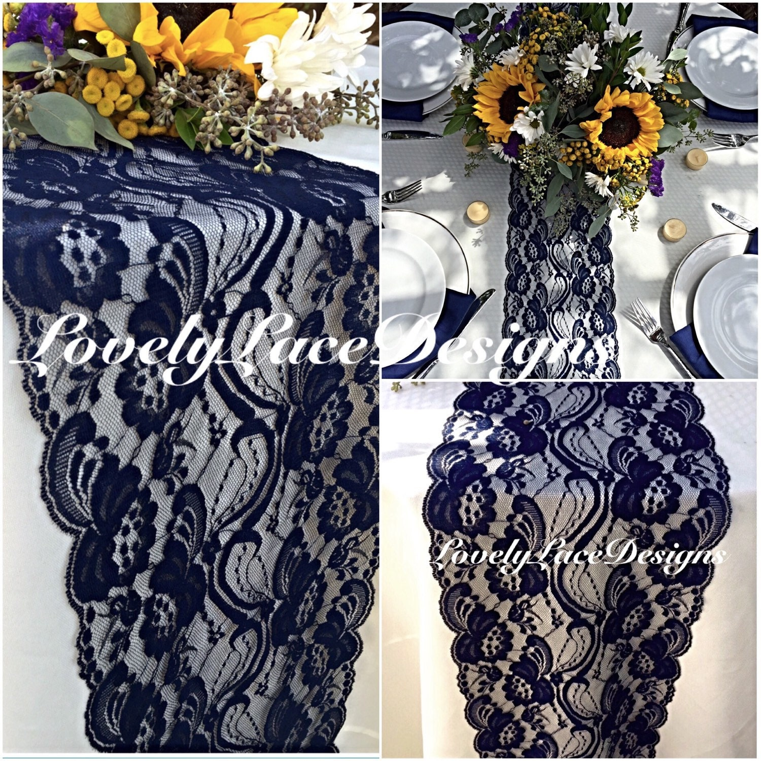 Navy blue lace table runner 3ft 10ft long x 7in wide wedding for 10 foot table runner