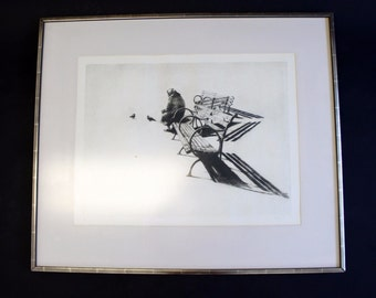 Mid Century Modern Lady Feeding Pigeons by Harry McCormick Signed 13/25