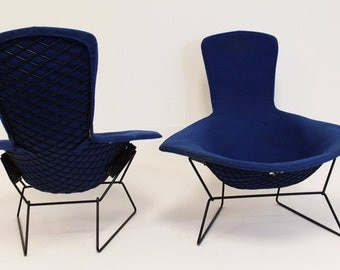 Mid Century Modern Harry Bertoia for Knoll Pair of Bird Chairs and Ottoman Blue