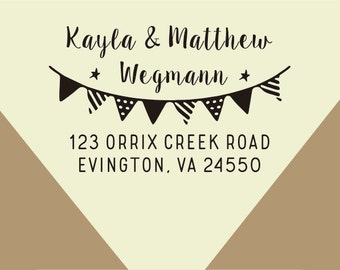 return address - Pennant Customized Address Stamp-Family Name Stamp - Custom Family Return Address Stamp- -custom Bunting dot Flags stamp