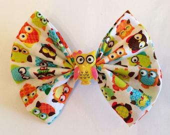 Owl Hair Bow, Bird Fabric Hair Bow