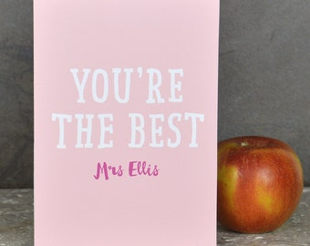 Personalised teacher card 'you're the best'