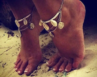 Pair of Shell and turkish coin anklets/ Coin anklet/ Shell anklets/ Beach wedding/Sold as a pair or one