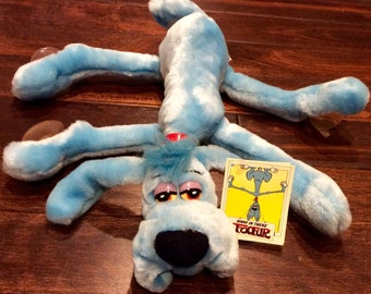 1987 Foofur Blue Suction Cup Dog by Dakin, Vintage Foofur, Foofur Dog, Blue Dog, Plush Dogs, Stuffed Animal Window Clings, Dakin Plush Dog