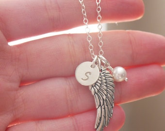 Remembrance Gifts, Angel Wing Necklace, Angel Necklace, Guardian Angel Gifts, Wing Gift, Loss of Brother, Loss of Father, Initial Birthstone
