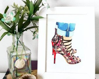 Fashion Illustration, Shoe Art, Fashion wall art, Aquazzura, Amazon Snakeskin Sandals, 8x10