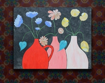Three Vases Acrylic Painting on Stretched Canvas