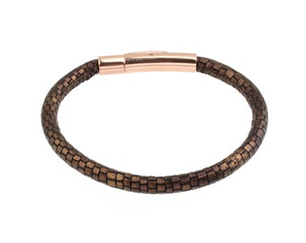 Women's Leather Bracelet Metallic Lizard Print patterned Stitched Two Tone Brown