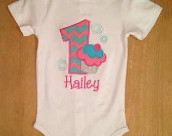 ON SALE Pink and Turquoise Birthday Cupcake Shirt or Baby Bodysuit