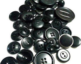 LOT6: 50 Vintage Black Buttons