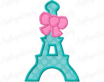 Eiffel Tower Bow Applique Machine Embroidery Design 4x4 5x5 5x7 6x10 Paris France INSTANT DOWNLOAD
