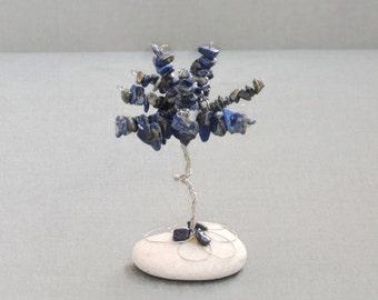 Mini wire tree, Lapis Lazuli gem tree, Wire tree of life, Anniversary gift, Beaded tree, beads tree, bonsai tree, Feng shui crystal tree