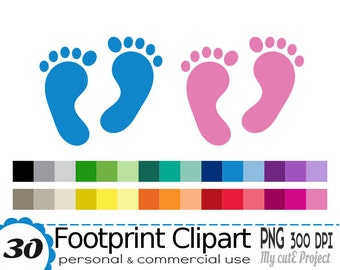 Footprint Clipart - Baby Footprint clipart -  New Baby foot - Digital Graphic Design - Small Commercial Use - 30 colors - PNG 300 dpi - CA48