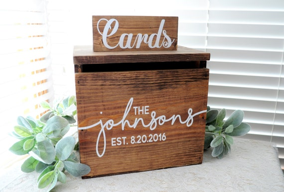 Wedding Card Box LARGE Rustic Personalized Painted Wooden