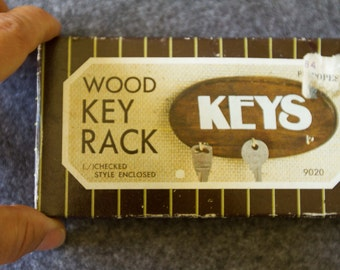 Vintage Small Wood Wall Key Rack, NOS,  Made In Taiwan, 3 Hooks ,
