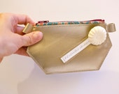Wallet champagne smooth leather - made in France, by Clafoutisdesign