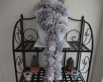 Crochet Ruffle Scarf in Taupe/Siver Blue/White