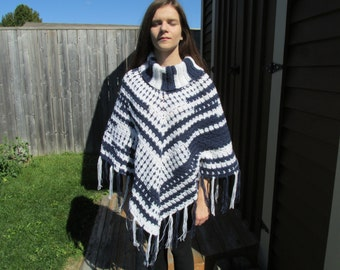 Sporty Crochet Poncho; Adult Poncho with Cowl Neck; Team Spirit Poncho; Crochet Poncho for Adults