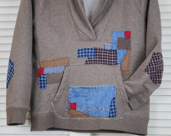 Refashioned J Crew Sweatshirt Hand Stitch Patched Sweatshirt Upcycled J. Crew Sweatshirt Mint Condition Used JCrew Embellished Sweatshirt