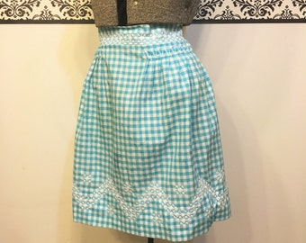 1950's Blue and White Gingham Apron, Vintage Blue Gingham Apron, Vintage Blue Checkered Apron. 50's Boudoir Apron, 1950's Blue Apron