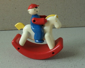 Vintage  Rocky Jockey by ambi toys Holland 1970s -80s. Educational toys,ambi Rocking horse and rider.