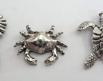 Sea turtle, Crab and Seahorse push pins 15pc set T-537 FREE SHIPPING