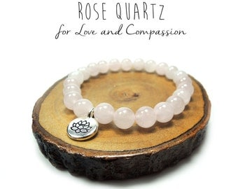 Rose Quartz with Lotus Charm Bracelet // Love and Compassion // Reiki Jewelry // Heart Chakra // Healing Garden Shop