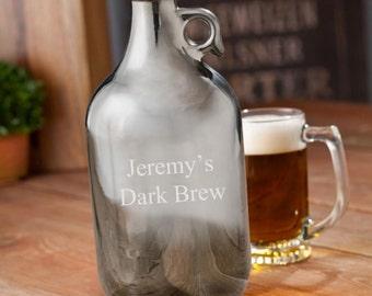 Personalized growlers beer gunmetal monogrammed customized monogram engraved custom barware to go jug containers bottles glass growler