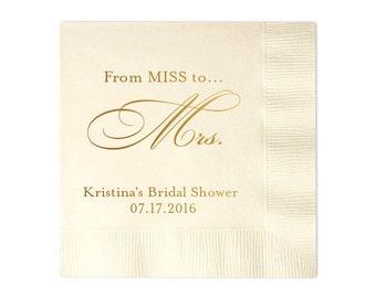 100 Personalized Napkins Bridal Shower From MISS to MRS Custom Printed Monogram Napkins Personalized Wedding Napkins