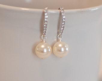 Diamond pearl earrings single pearl earrings simple bridal jewelry pearl drop earrings bridesmaid pearl earrings mother of the bride earring